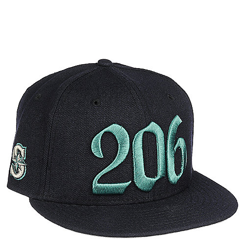 New Era Areacode Mens Navy Fitted Hat Shiekh Shoes - 206 area code