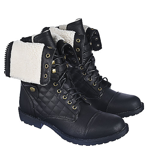 Fold Down Black Combat Boots Coltford Boots