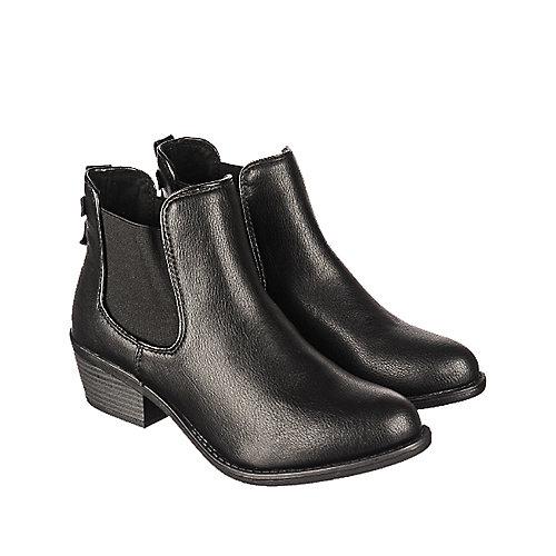 Soda Chelsea-S Women\'s Black Low Heel Ankle Boot   Shiekh Shoes