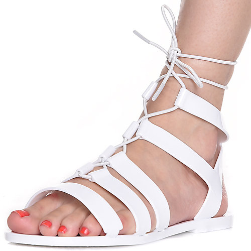 White Women's Avenue-S Lace-up Sandal at Shiekh Shoes in Los Angeles, CA | Tuggl