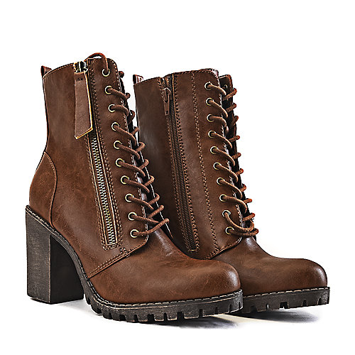 61abaf2daecb Women s Low-Heel Lace-Up Boot Malia-S Tan