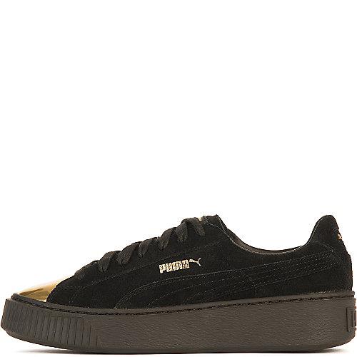304d1a5f10a2 Puma Black Gold Women s Suede Platform Gold Casual Sneaker