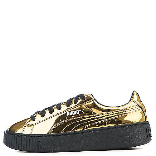 Puma Gold Black Women s Basket Platform Metallic Casual Sneaker 7f1b4b9b8