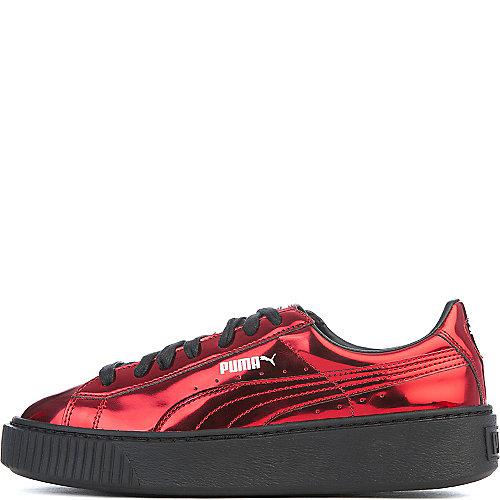 215b27d9edc554 Puma Red Black Women s Basket Platform Metallic Casual Sneaker