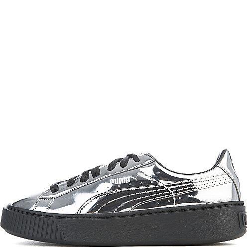 Puma Silver Black Women s Basket Platform Metallic Casual Sneaker 455bdb693