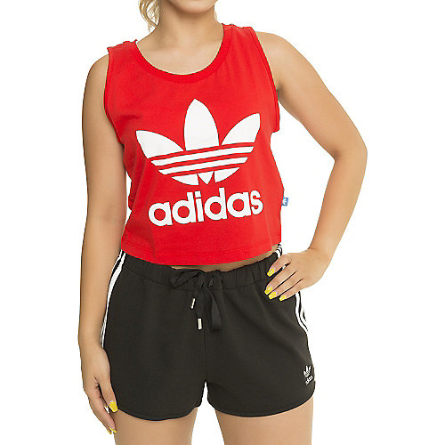 d56a04edbd4cd adidas. Red White Women s Loose Crop Tank Top