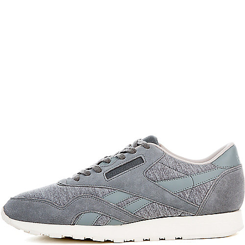 3063e522270 Reebok FLAT GREY MEDIUM GREY SAND STONE CHALK Men s Classic Nylon Jersey  Sneaker