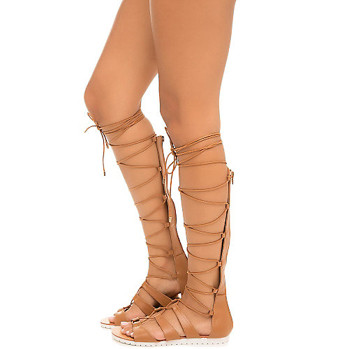 33e64dc78c46 Cognac Women s Sam-19 Lace-Up Gladiator Sandal