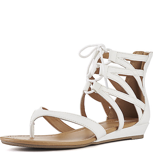 White Women's S-XL9403 Lace-Up Thong Sandal at Shiekh Shoes in Los Angeles, CA | Tuggl