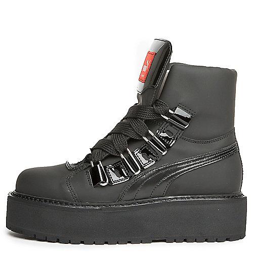 Puma Black Women s SB Black eyelet Rihanna Platform Sneaker 981463f0e8