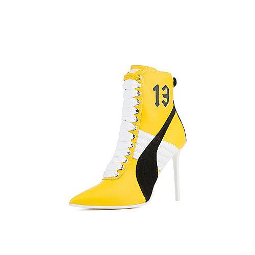 ea273de7092 Puma Yellow Black White Women s Rihanna High Heel Leather Ankle Boot