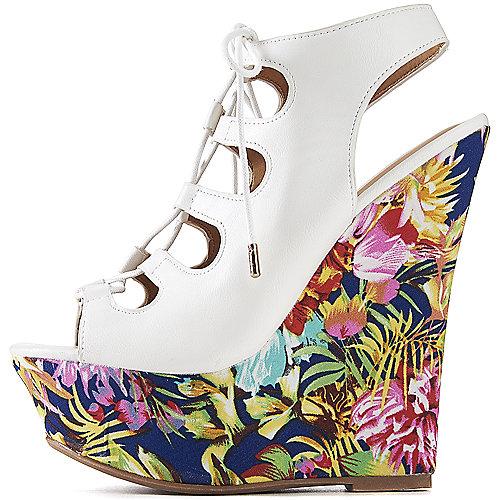 15b6a9750c4 Dollhouse White Floral Women s Believe Wedge Shoe