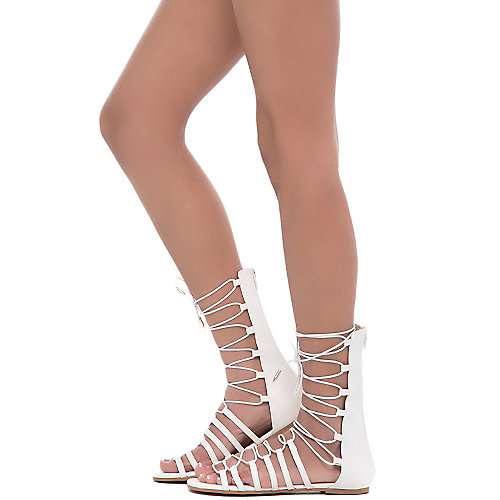 White Women's New Way Lace-Up Flat Sandal at Shiekh Shoes in Los Angeles, CA | Tuggl