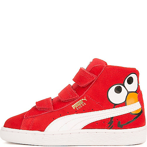 8610d0959dcd Puma Red White Kids Suede Mid Sesame Elmo V Casual Velcro Sneaker