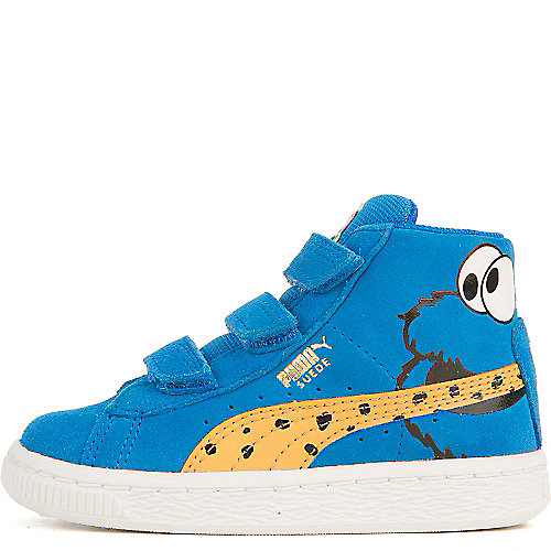 04c0625226f2 Blue White Black Infant Suede Mid Sesame Cookie Monster V Casual Velcro  Sneaker