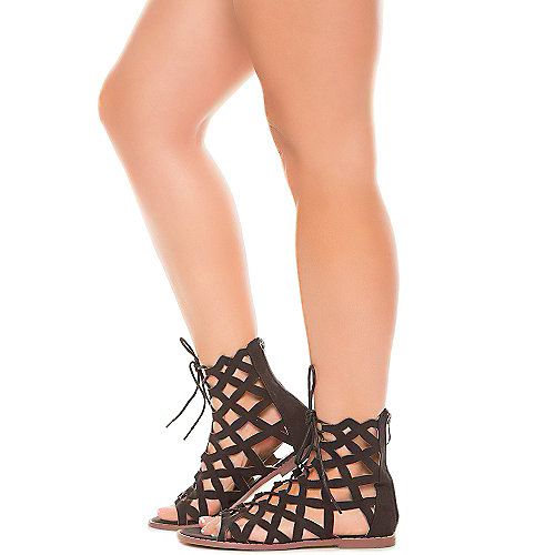 Black Women's Petrone-2 Lace-Up Sandal at Shiekh Shoes in Los Angeles, CA | Tuggl