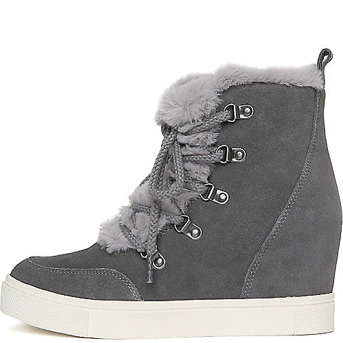 e41528a6d86e Steve Madden Grey Women s Lift Fur Casual Wedge Sneaker