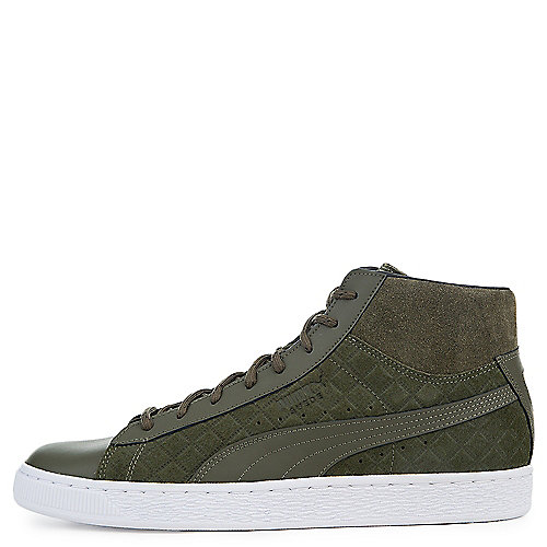 OLIVE NIGHT Men's Suede Classic Mid Quilt Sneaker | Tuggl