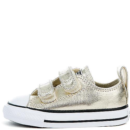5dbbf67747fd Converse light gold white black Infant CTAS 2V Metallic Canvas Sneaker