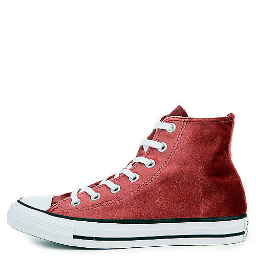 feb52649f6ac Converse red block white white Women s Chuck Taylor All Star Velvet Hi  Sneaker
