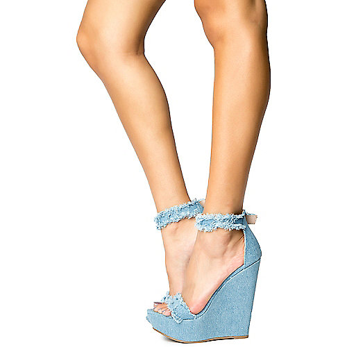 c0dc9adfb888 BLUE DENIM Vivi-70 Blue Denim Women s Wedge Sandal