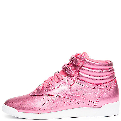 SHARP PINK/WHITE Women's F/S Hi Metallic Sneaker | Tuggl