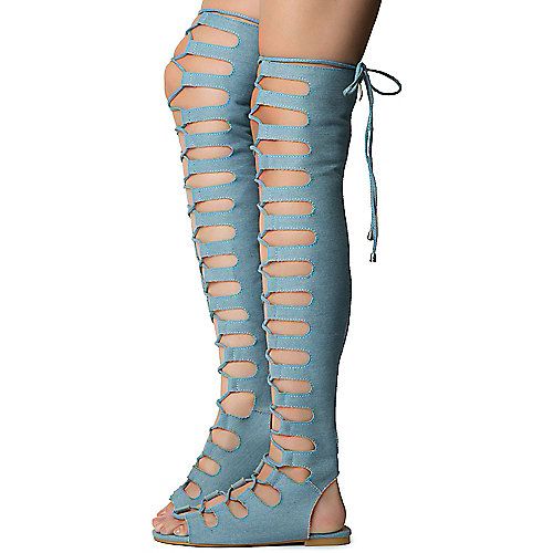 Denim Women's Jovena-1 Gladiator Lace-Up Sandal at Shiekh Shoes in Los Angeles, CA | Tuggl