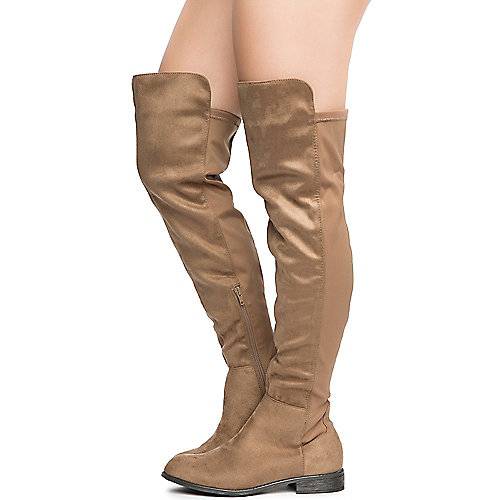 Taupe Women's Oksana-132 Flat Boot at Shiekh Shoes in Los Angeles, CA | Tuggl