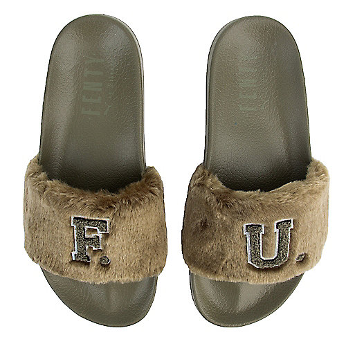 Burnt Olive-Puma Black Women s Leadcat Fenty Fu Fur Slide 603285a8f1