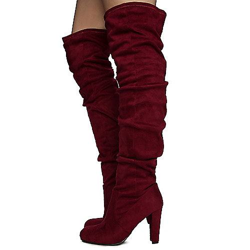 Burgundy Women's Amaya-61 Thigh High Boots at Shiekh Shoes in Los Angeles, CA | Tuggl