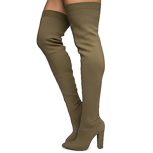 Olive Women's Madam-35M Thigh High Boots at Shiekh Shoes in Los Angeles, CA | Tuggl