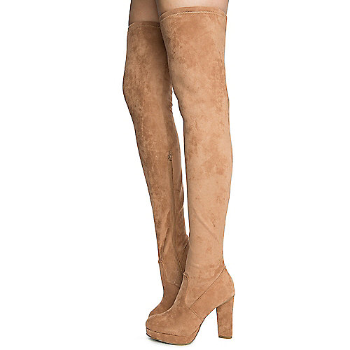 Camel Women's Twisty-02S Thigh High Boots at Shiekh Shoes in Los Angeles, CA | Tuggl
