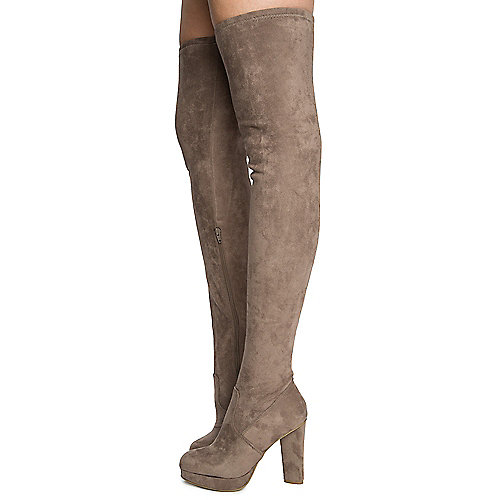 Taupe Women's Twisty-02S Thigh High Boots at Shiekh Shoes in Los Angeles, CA | Tuggl