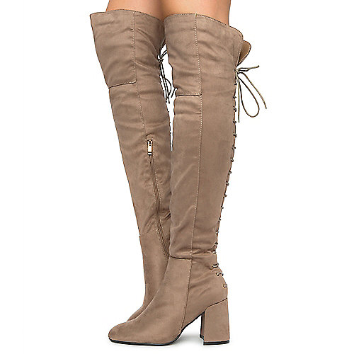 Taupe Women's Belmont-020K Thigh High Boots at Shiekh Shoes in Los Angeles, CA | Tuggl