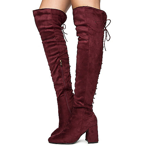 Burgundy Women's Belmont-020K Thigh High Boots at Shiekh Shoes in Los Angeles, CA | Tuggl