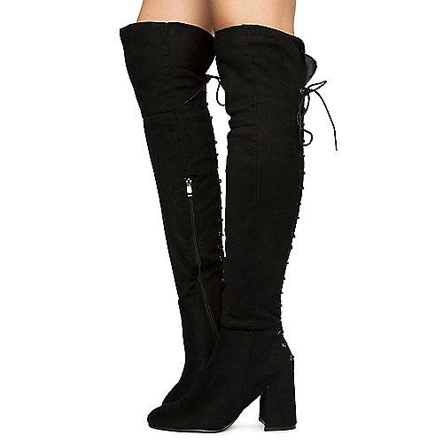 BLACK Women's Belmont-020K Thigh High Boots | Tuggl