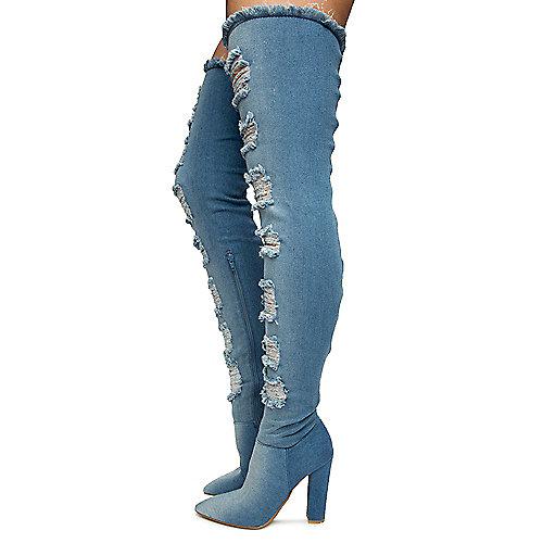a8bac4491fc9 BLUE DENIM Women s Madam High Heel Boots