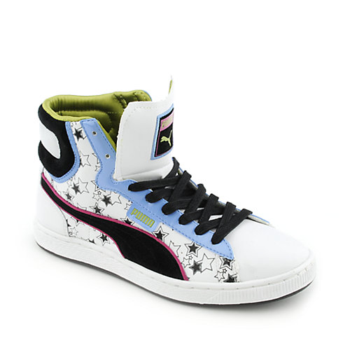 Puma Womens First Round Star Blast white lifestyle sneaker