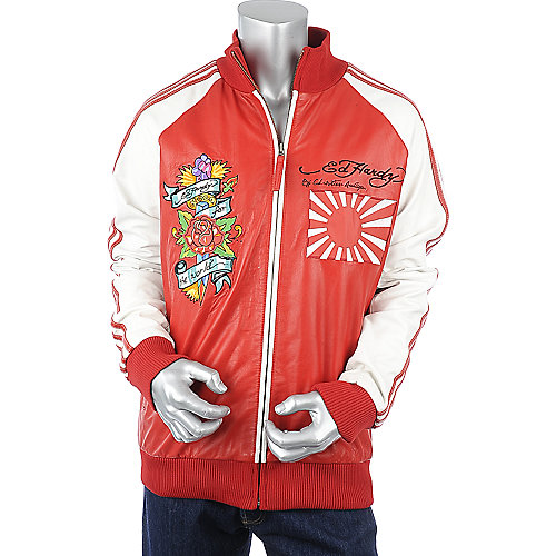 Ed Hardy Japan Flag Leather Jacket mens red jacket