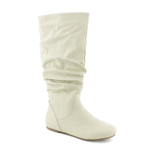 Shiekh Womens Kalisa-04 White Mid Calf Flat Slouch Boot