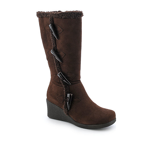 Groove Puffin Womens Wedge Mid-Calf fur boot