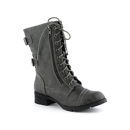 Soda Dome-H Women's Grey Combat Boot | Shiekh Shoes