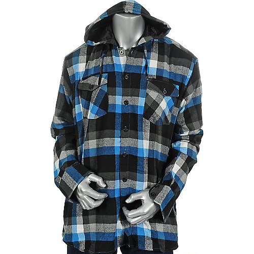 Shiekh Mens Hooded Long Sleeve Flannel Shirt