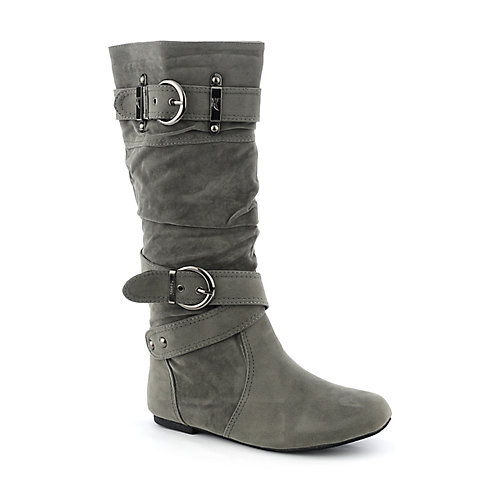 Shiekh Womens Sally-4-S Grey Mid Calf Flat Boot