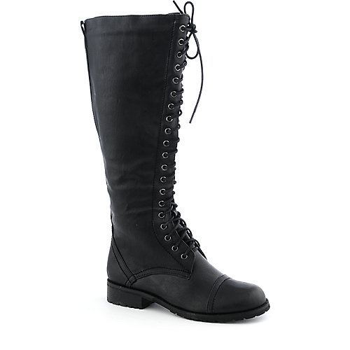 Nature Breeze Womens Lug-11H black mid calf combat boot