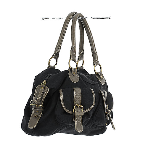 Shiekh Buckle Front Canvas Bag black canvas bag
