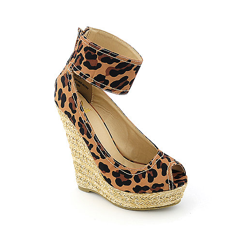 Shiekh Ruby womens casual espadrille animal print platform wedge