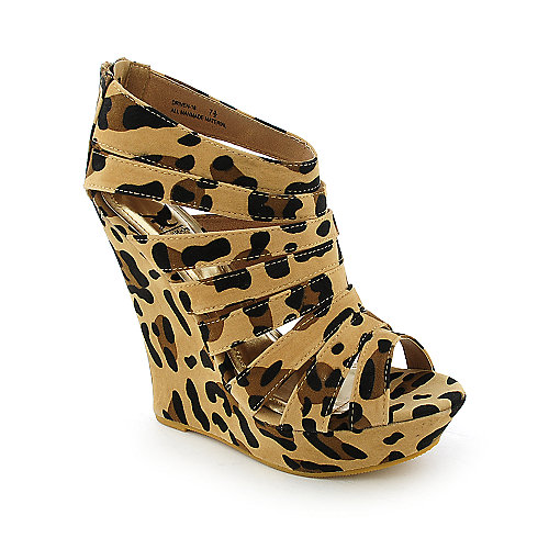 Shiekh Driven-18 womens animal print platform wedge dress shoe