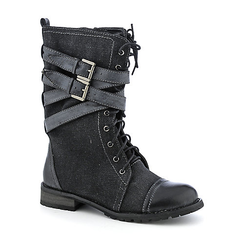 Shiekh Tina-09A womens black canvas boot