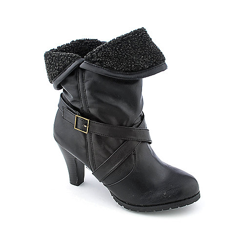 Bamboo Verde-01L womens high heel fur ankle boot